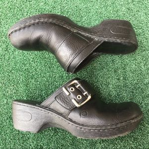 Born Clogs Leather Black Silver Buckle 8